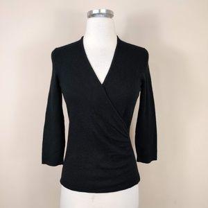 Ann Taylor Black Cashmere Sweater Faux Wrap XS